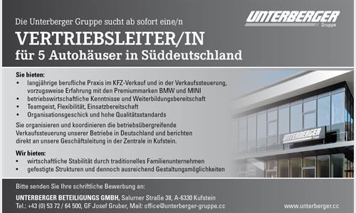 Foto des Stellenangebots Vertriebsleiter(in) für 5 Autohäuser in Süddeutschland