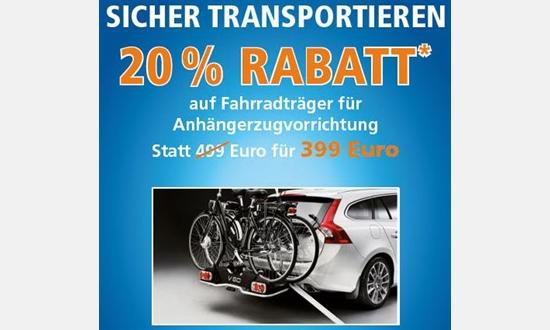 Foto des Zubehörangebots 20 Prozent Rabatt auf Fahrradträger