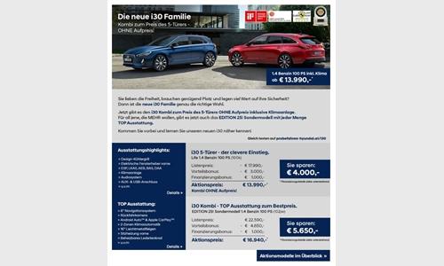 Foto der News Hyundai Aktionsmodelle - Der neue i30 Familie